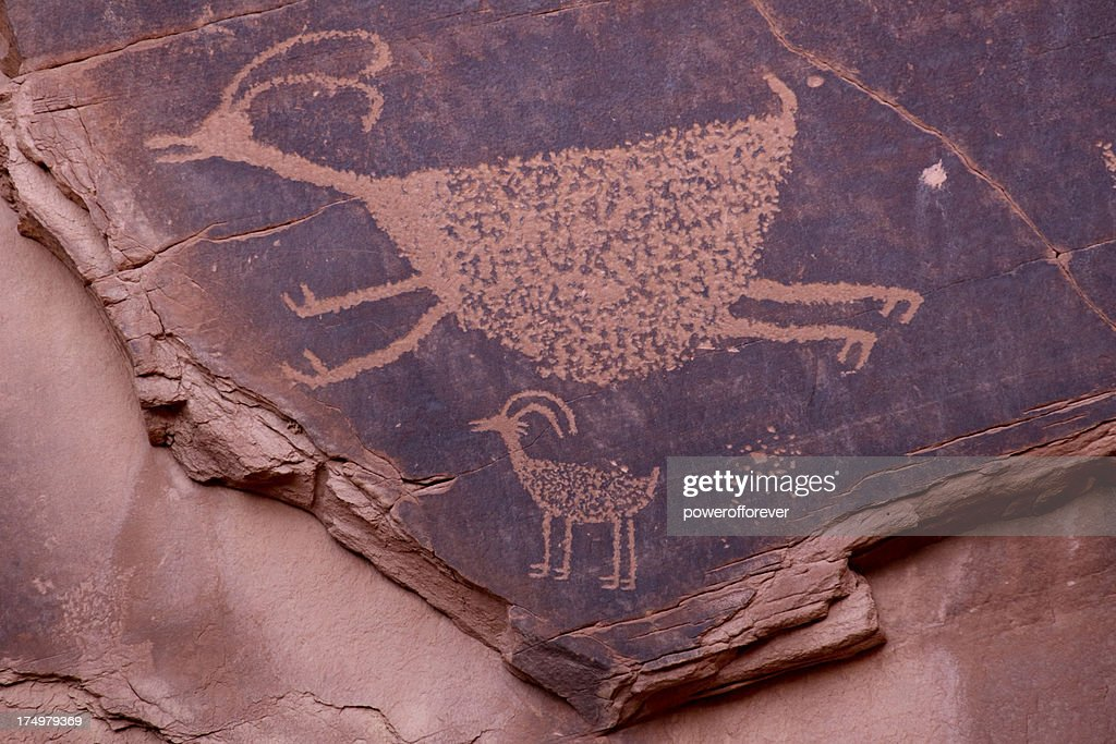 Petroglyphs at Monument Valley : Stock Photo