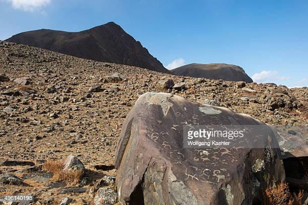 Petroglyphs from the Bronze Age on a rock in the Hatuugeen River Valley in the Altai Mountains in the BayanUlgii Province in western Mongolia