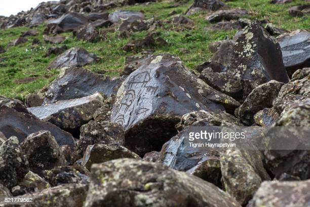 Petroglyphs in Geghama mountains, Armenian highlands, Caucasus.