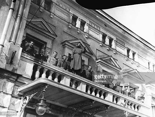 1917 Petrograd Russia Russian revolutionists stand on the balcony of Tsarskeye Sala in Petrograd during the Russian Revolution BPA2#4146