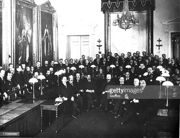 first members of the provisional government in the state council chamber alexander kerensky standing second from right