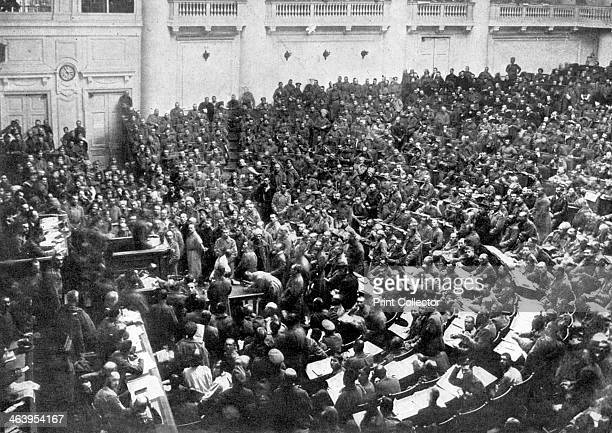 Petrograd's new parliament Russia The Committee of Workers' and Soldiers' Deputies in possession of the Duma after the revolution Petrograd reverted...