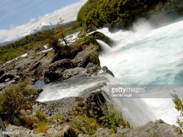 petrohué falls natural park - los lagos, chile - petrohue river stock photos and pictures