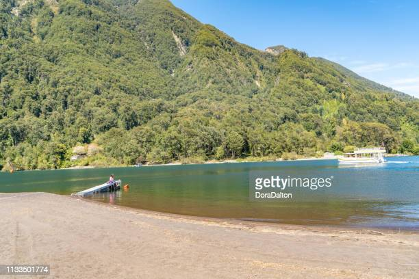 petrohué river in chilean lake district - puerto varas, chile - petrohue river stock photos and pictures