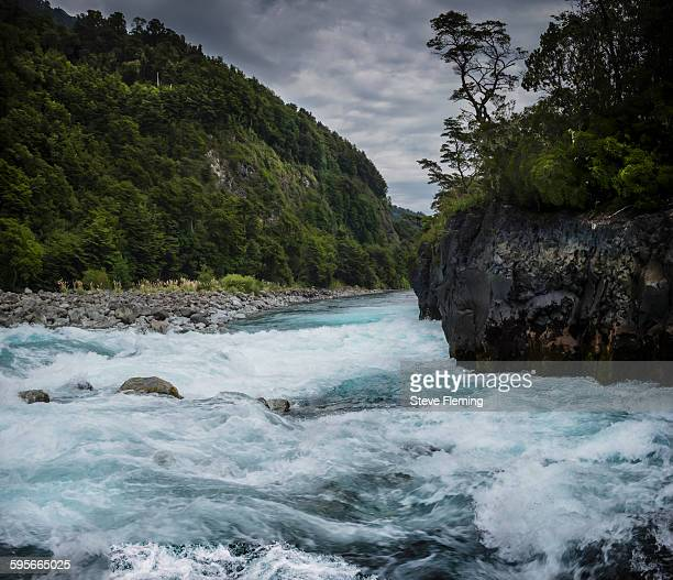 petrohue waterfalls - petrohue river stock photos and pictures