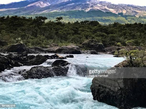 petrohue waterfalls, vicente perez rosales national park, patagonian chile - petrohue river stock photos and pictures