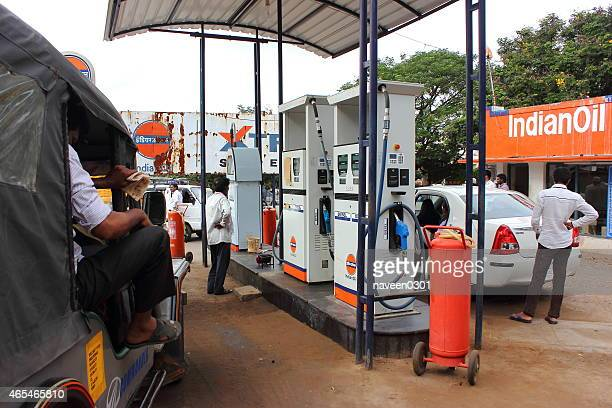 petrol and diesel pump - indian oil - fossil fuel stock photos and pictures
