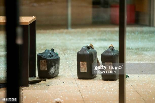 Petrol containers are seen in the lobby of the German Social Democratic Party headquarters after a vehicle was used to ram the building in Berlin...