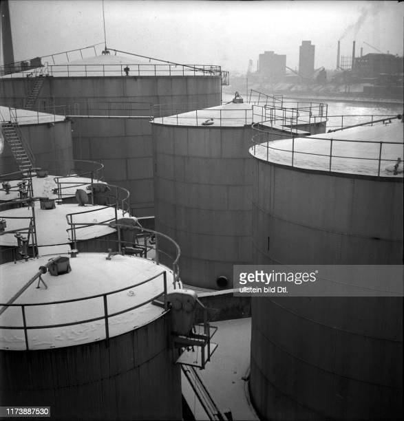 Petrol importation and storage Shell tanks in the Basle rhine port around 1946