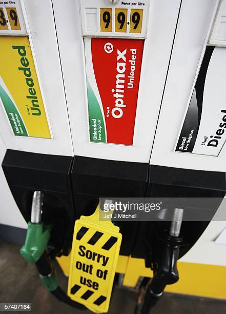 Petrol prices are displayed on the pumps at a petrol station on April 24 in Glasgow Scotland It is thought that the UK petrol prices could reach a...