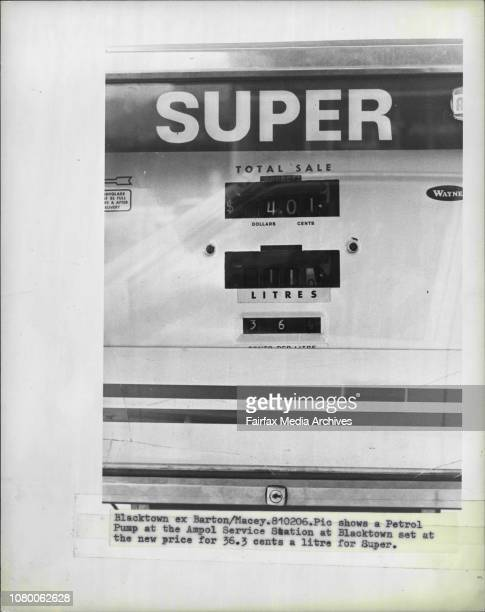 A Petrol Pump at the Ampol Service Station at Blacktown set at the new price for 363 cents a litre for Super February 6 1981