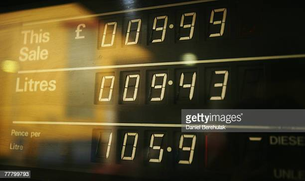 A petrol pump sign displays the price of petrol at over a pound a litre on November 8 2007 in London England The recent global increase in oil has...