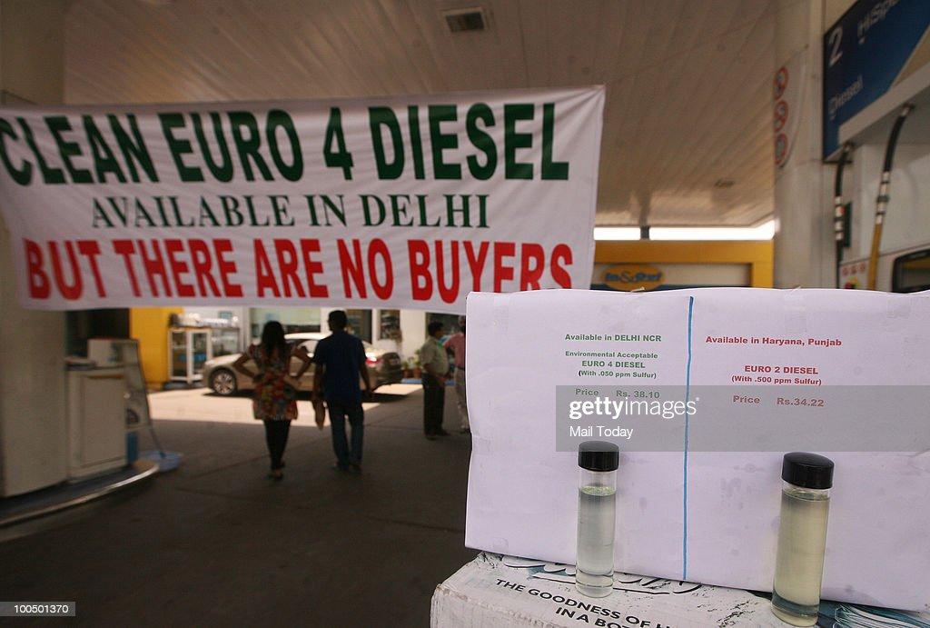 A petrol pump wears a deserted look during petrol pump dealers' strike in New Delhi on May 24, 2010.