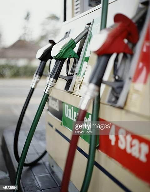 Petrol pumps in garage, close-up