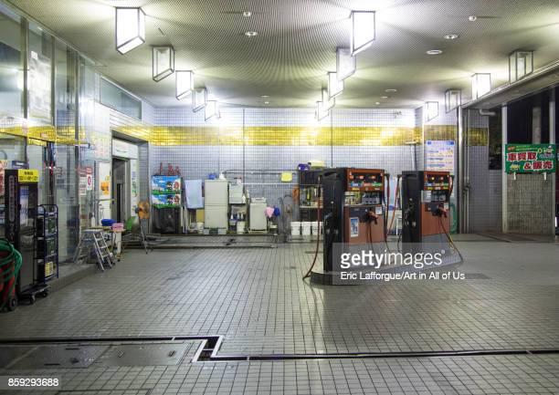 Petrol station at night, Kansai region, Osaka, Japan on August 18, 2017 in Osaka, Japan.