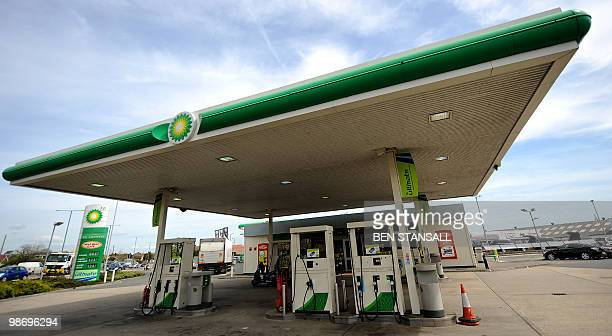 A BP petrol station is pictured in Bournemouth in southern England on April 27 2010 British energy giant BP said Tuesday that firstquarter profits...