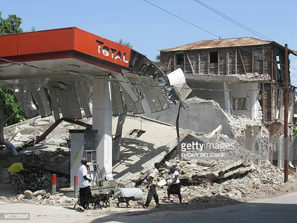 A petrol station shows the extent of the destruction in the quakehit Haitian city of Jacmel on March 20 2010 Among the cracked colonial houses and...