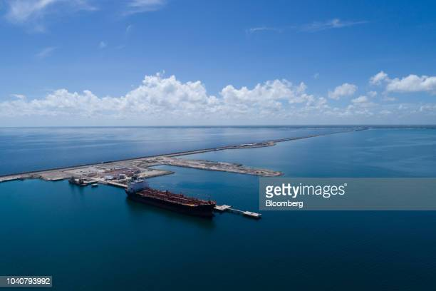 A Petroleos Mexicanos is seen moored in an aerial photograph taken above the Progreso Port in Progreso Yucatan state Mexico on Friday Aug 31 2018 The...