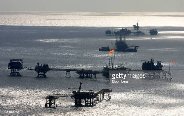 Petroleos Mexicanos offshore platforms produce oil from the KuMaloobZaap field in the Gulf of Mexico 65 miles northeast of Ciudad del Carmen Mexico...