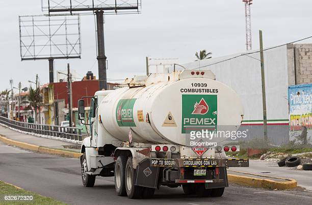 A Petroleos Mexicanos truck exits a supply center in Veracruz City Mexico on Sunday Jan 8 2017 Pemex is looking to divert crude exports from Europe...