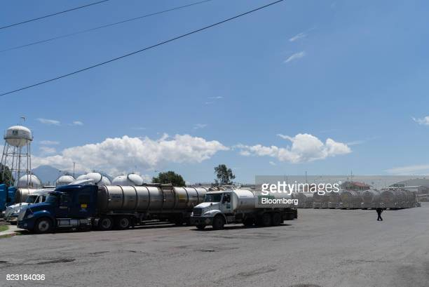 Petroleos Mexicanos trucks sit parked at the company's logistics facility in the city of Puebla Puebla State Mexico on Thursday July 6 2017 While...
