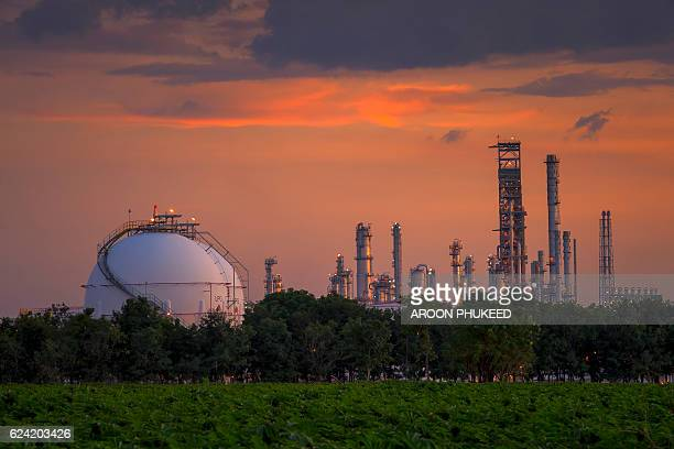 petroleum storage tanks on petrochemical plant - gas refinery stock photos and pictures