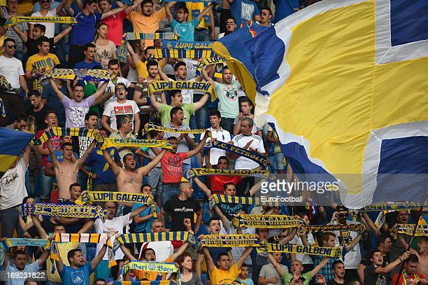 Petrolul Ploiesti supporters during the Romanian First Division match between FC Petrolul Ploiesti and FC Astra Ploiesti held on May 18 2013 at the...