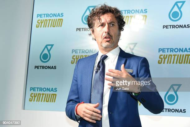 Petronas Lubricants International CEO Giuseppe D'Arrigo attends the press conference during Tokyo Auto Salon at Makuhari Messe on January 12 2018 in...
