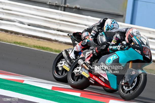 Petronas Sprinta Racing's Spanish rider Xavi Vierge steers his bike during the Moto2 race of Emilia Romagna Grand Prix at the Misano World Circuit...
