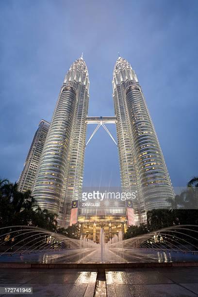 Petronas Towers at Dusk in Kuala Lumpur Malaysia