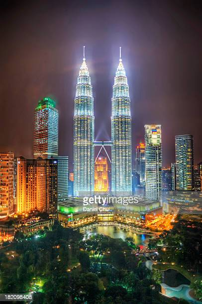 Petronas Twin Towers and KLCC Park at night