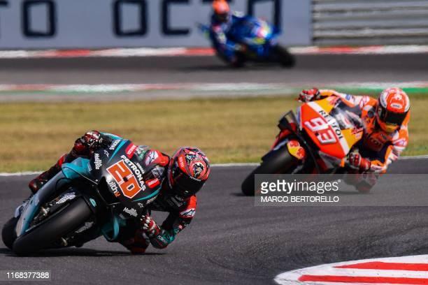 Petronas Yamaha SRT French rider, Fabio Quartararo and Repsol Honda Team Spanish rider, Marc Marquez compete during the San Marino MotoGP Grand Prix...