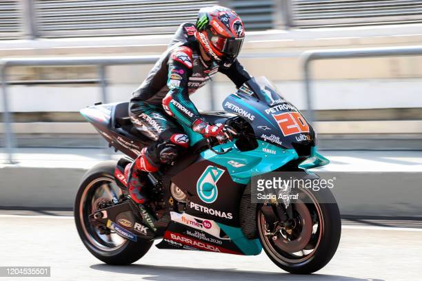 Petronas Yamaha SRT French rider Fabio Quartararo exits the pit lane during the MotoGP preseason test at the Sepang International Circuit on February...