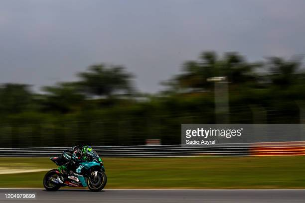 Petronas Yamaha SRT Italian rider Franco Morbidelli heads down a straightduring the MotoGP preseason test at Sepang International Circuit on February...