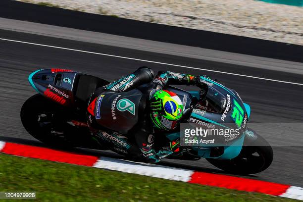 Petronas Yamaha SRT Italian rider Franco Morbidelli in action during the MotoGP preseason test at Sepang International Circuit on February 9 2020 in...