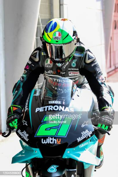 Petronas Yamaha SRT Italian rider Franco Morbidelli returns in box during the MotoGP preseason test at the Sepang International Circuit on February...
