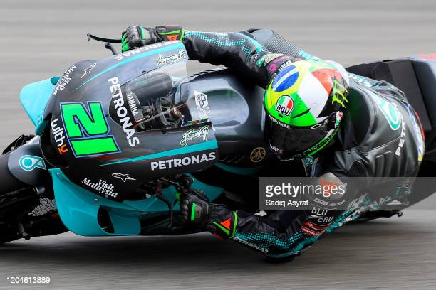 Petronas Yamaha SRT Italian rider Franco Morbidelli takes a corner during the MotoGP preseason test at the Sepang International Circuit on February...