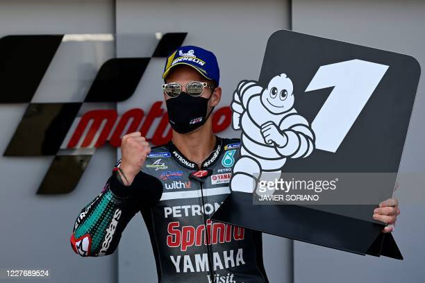 Petronas Yamaha SRT's French rider Fabio Quartararo celebrates after winning the MotoGP race of the Spanish Grand Prix at the Jerez racetrack in...