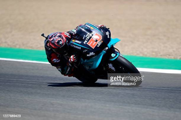 Petronas Yamaha SRT's French rider Fabio Quartararo competes during the MotoGP race of the Spanish Grand Prix at the Jerez racetrack in Jerez de la...