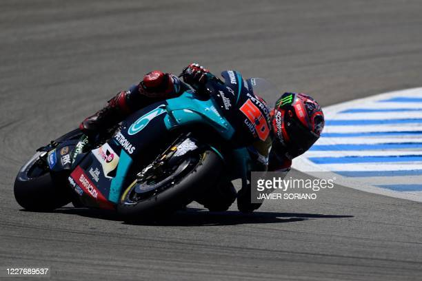 TOPSHOT Petronas Yamaha SRT's French rider Fabio Quartararo competes during the MotoGP race of the Spanish Grand Prix at the Jerez racetrack in Jerez...