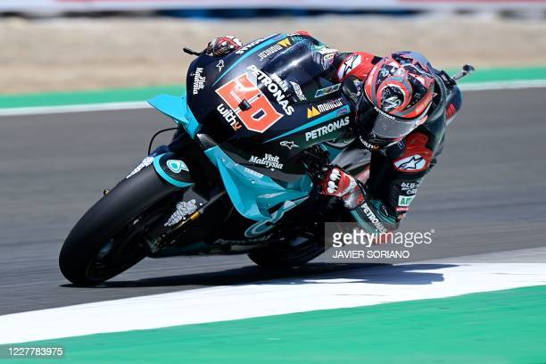 TOPSHOT Petronas Yamaha SRT's French rider Fabio Quartararo competes in the MotoGP race during the Andalucia Grand Prix at the Jerez race track in...