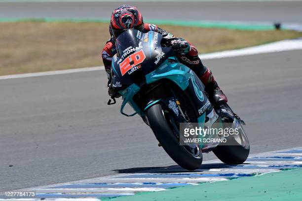 Petronas Yamaha SRT's French rider Fabio Quartararo competes in the MotoGP race during the Andalucia Grand Prix at the Jerez race track in Jerez de...