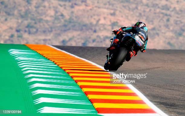 Petronas Yamaha SRT's French rider Fabio Quartararo rides during the first MotoGP free practice session of the Moto Grand Prix of Aragon at the...
