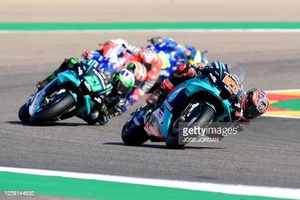 Petronas Yamaha SRT's French rider Fabio Quartararo rides during the MotoGP race of the Moto Grand Prix of Aragon at the Motorland circuit in Alcaniz...