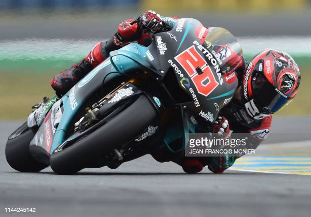 TOPSHOT Petronas Yamaha SRT's French rider Fabio Quartararo steers his motorbike during the second MotoGP free practice session ahead of the French...