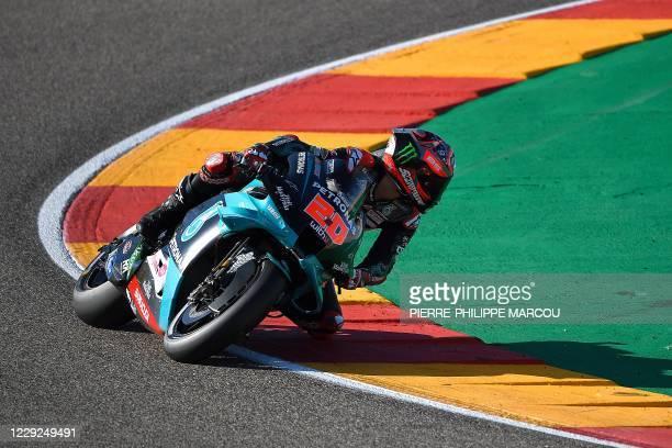 Petronas Yamaha SRT's French rider Fabio Quartararo takes part in the third practice session ahead of the MotoGP Grand Prix of Teruel at the...