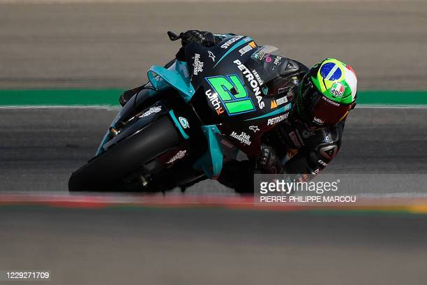 Petronas Yamaha SRT's Italian rider Franco Morbidelli competes in the MotoGP Grand Prix of Teruel at the Motorland circuit in Alcaniz on October 25,...