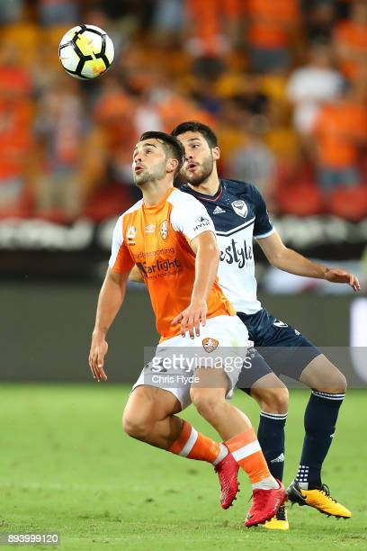 Petros Skapetis of the Roar heads the ball during the round 11 ALeague match between the Brisbane Roar and the Melbourne Victory at Suncorp Stadium...