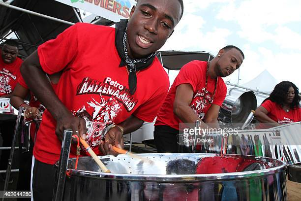 Petrotrin Katzenjammers Steel Orchestra from Black Rock, Tobago performs during National Panorama Semi-Finals in the Queens Park Savannah as part of...
