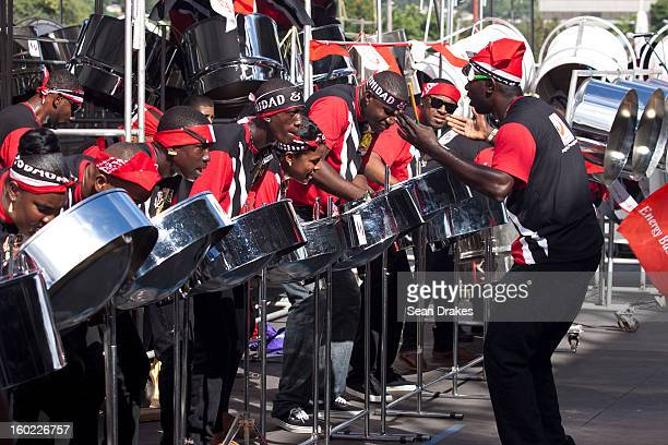 Petrotrin Katzenjammers steelband perform at Panorama semifinals at Queen's Park Savannah in Port of Spain Trinidad and Tobago on January 27 2013...